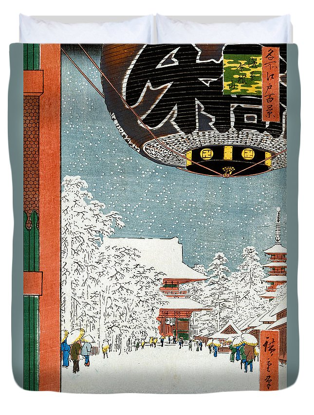 Snow Duvet Cover featuring the painting Kinryuzan Temple At Asakusa by Hiroshige