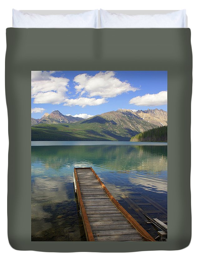 Glacier National Park Duvet Cover featuring the photograph Kintla Lake Dock by Marty Koch