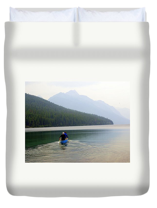 Mountains Duvet Cover featuring the photograph Kintla Lake Paddlers by Marty Koch