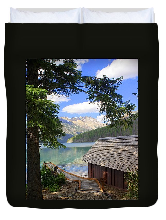 Glacier National Park Duvet Cover featuring the photograph Kintla Lake Ranger Station Glacier National Park by Marty Koch