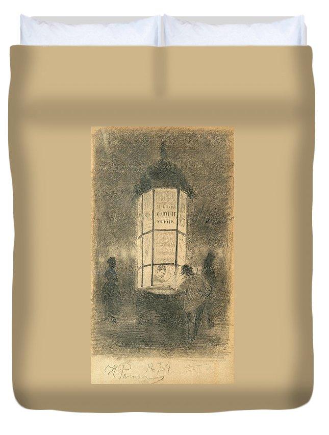 Ilja Repin Duvet Cover featuring the painting Kiosk by Ilja Repin