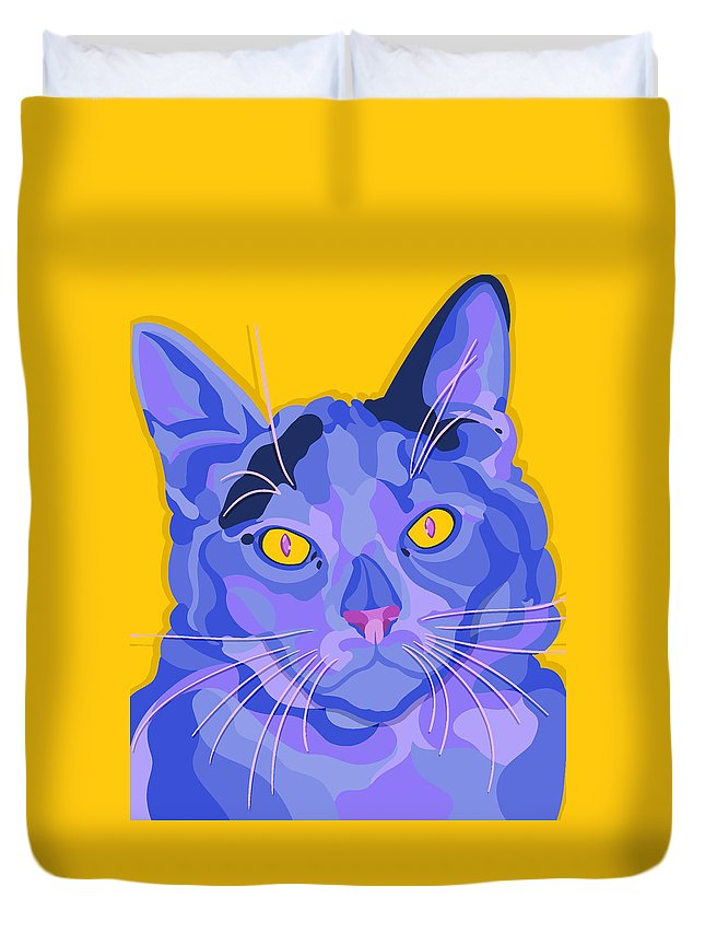 Cat Duvet Cover featuring the digital art Kip by John Berndt