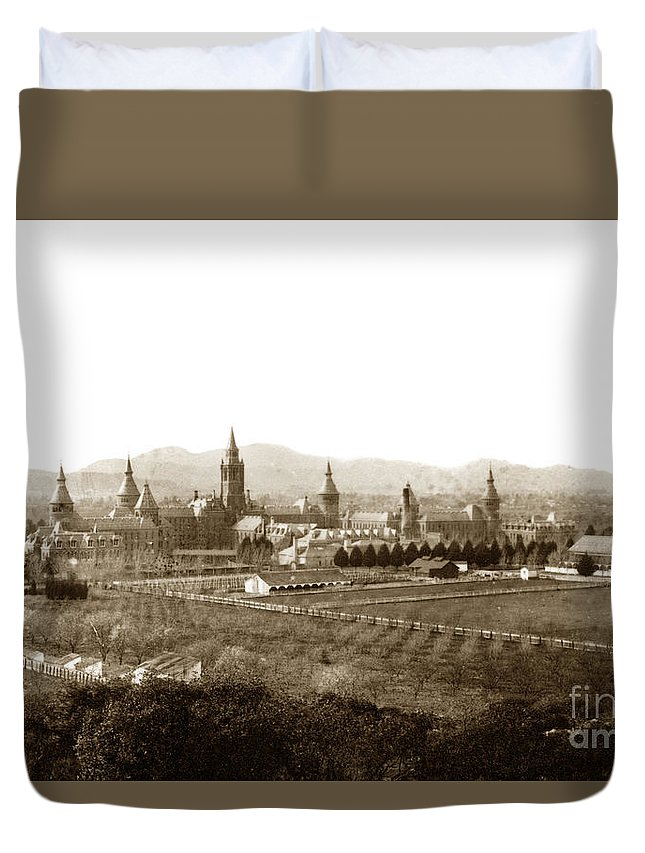Kirkbride Duvet Cover featuring the photograph Kirkbride At Napa State Hospital In California Circa 1890 by California Views Mr Pat Hathaway Archives
