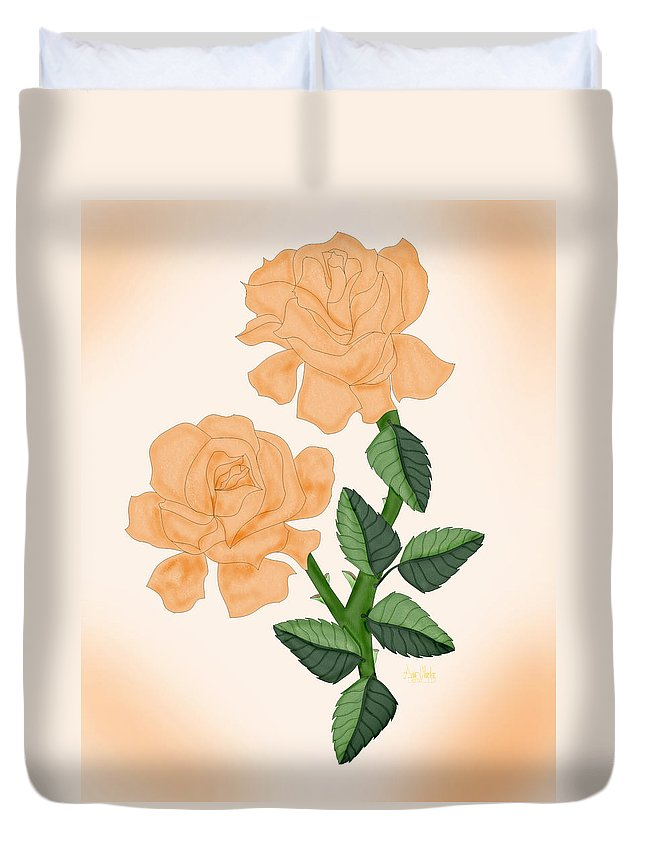 Rose Duvet Cover featuring the painting Kiss From A Rose by Anne Norskog