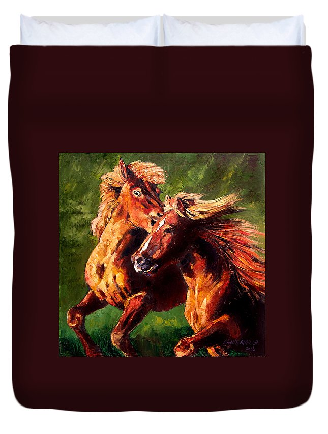 Horses Running Duvet Cover featuring the painting Kiss on the Run by John Lautermilch