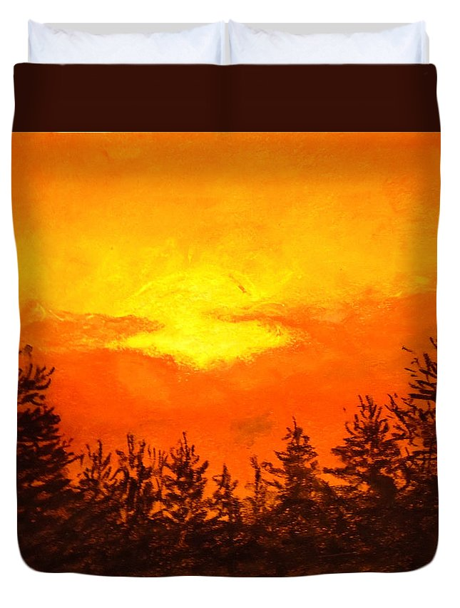 Sunset Painting Duvet Cover featuring the painting Kissed Pines by Jen Shearer