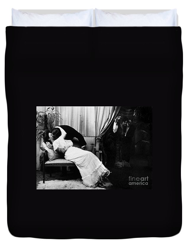-kissing- Duvet Cover featuring the photograph Kissing, C1900 by Granger