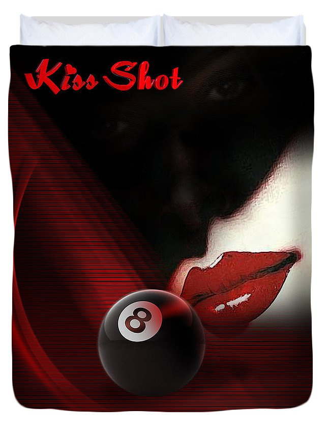 Pool Duvet Cover featuring the digital art Kissshot by Draw Shots