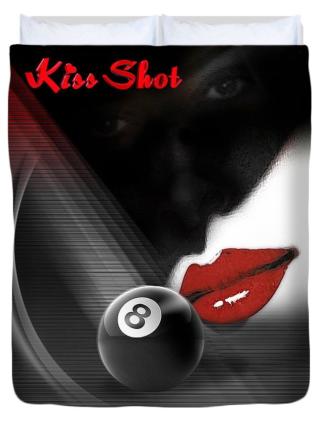 Pool Duvet Cover featuring the digital art Kissshot2 by Draw Shots