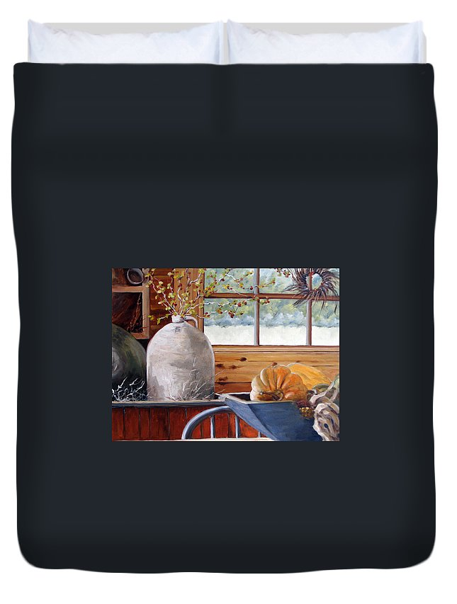Kitchen Duvet Cover featuring the painting Kitchen Scene by Richard T Pranke