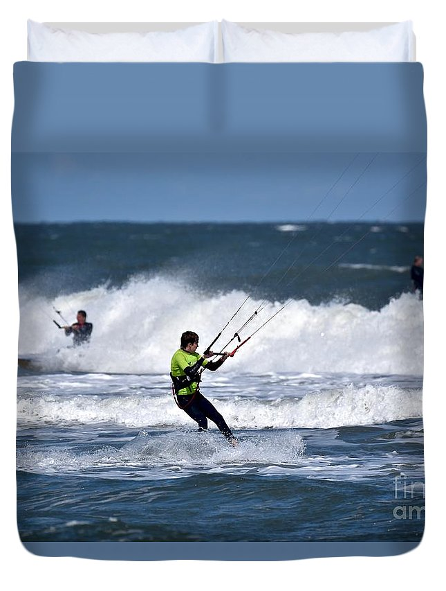 Kite Surfing Duvet Cover featuring the photograph Kite Surfing by Jeramey Lende