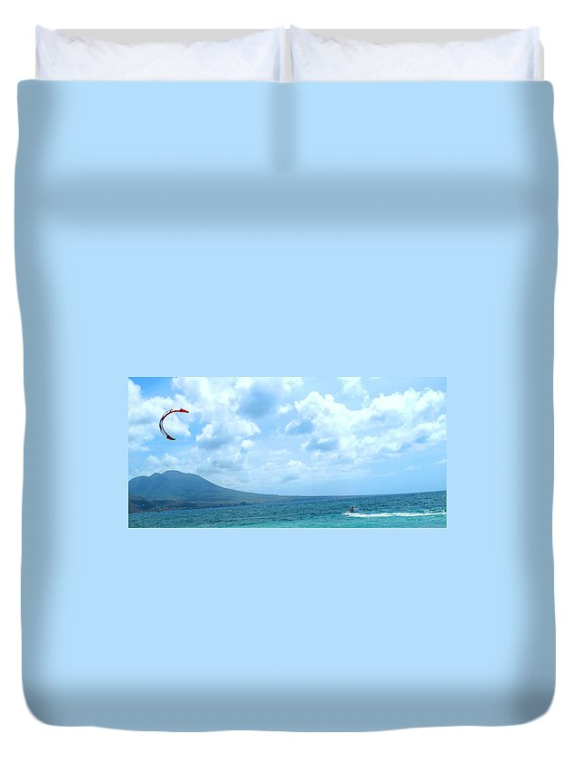 Kite Duvet Cover featuring the photograph Kite Surfing With A Nevis Background by Ian MacDonald