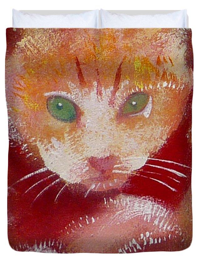 Kittens Duvet Cover featuring the painting Kitten by Charles Stuart