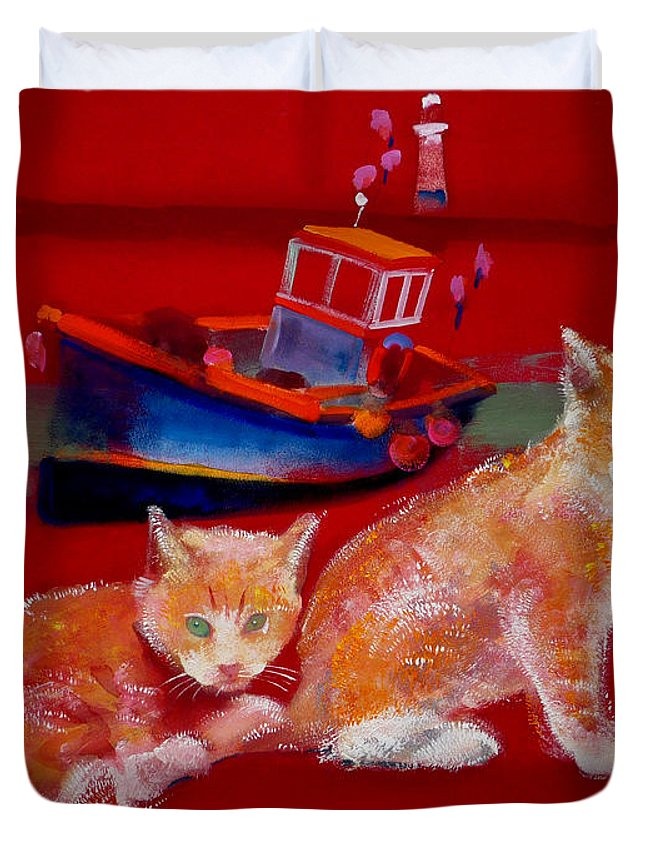 Kittens Duvet Cover featuring the painting Kittens On The Beach by Charles Stuart