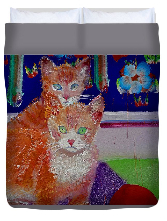 Kittens Duvet Cover featuring the painting Kittens With Wild Wallpaper by Charles Stuart