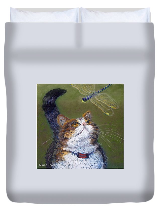 Cat Duvet Cover featuring the painting Kitty And The Dragonfly Close-up by Minaz Jantz