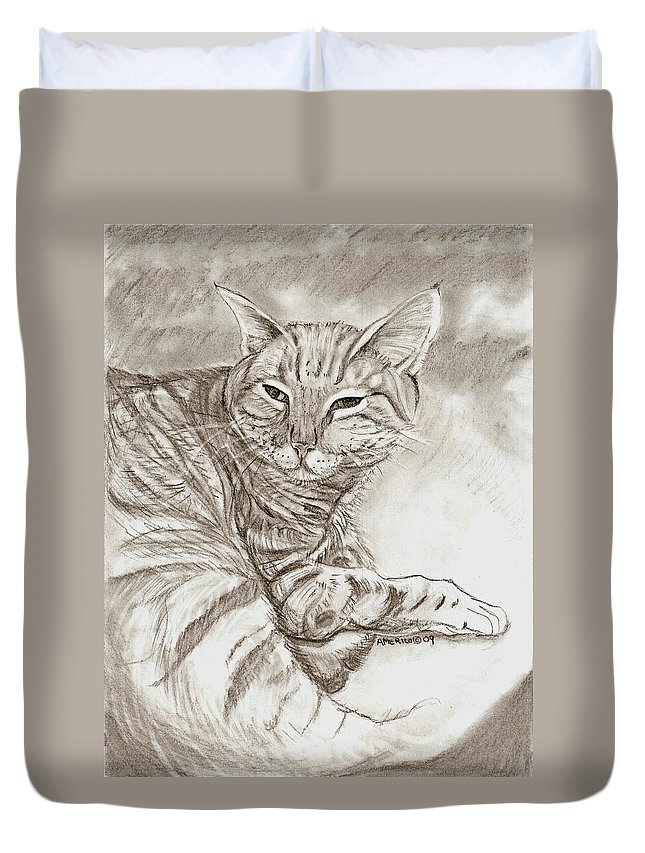 Cat Duvet Cover featuring the drawing Kitty Cat by Americo Salazar