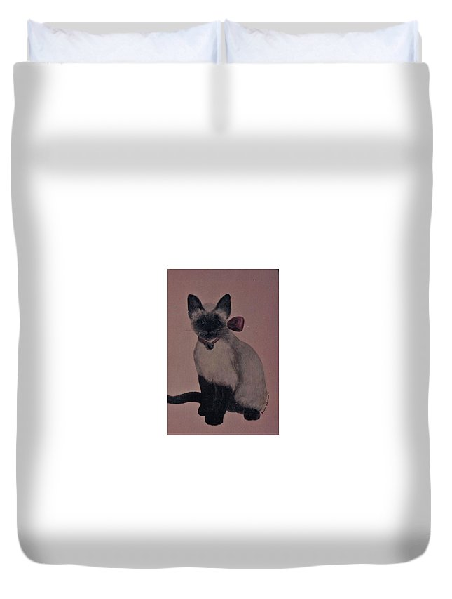 Kitty Cat Duvet Cover featuring the painting Kitty Cat by Suzn Art Memorial
