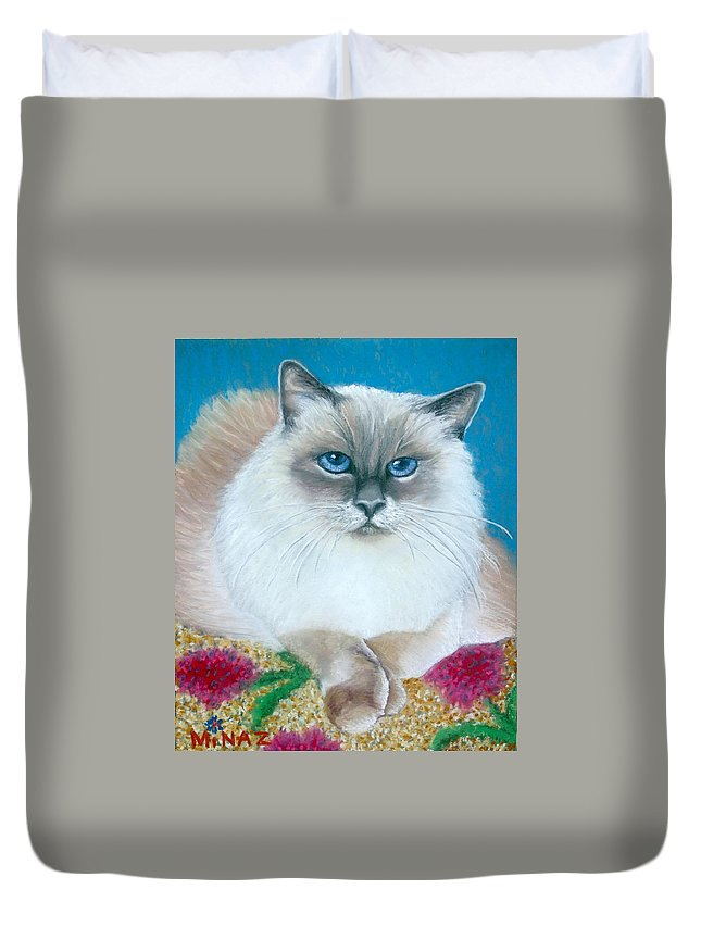 Cat Duvet Cover featuring the painting Kitty Coiffure by Minaz Jantz