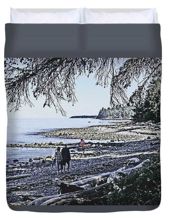 Vanvouver Island Duvet Cover featuring the digital art Kitty Colemans Beach - Bc by Joseph Coulombe