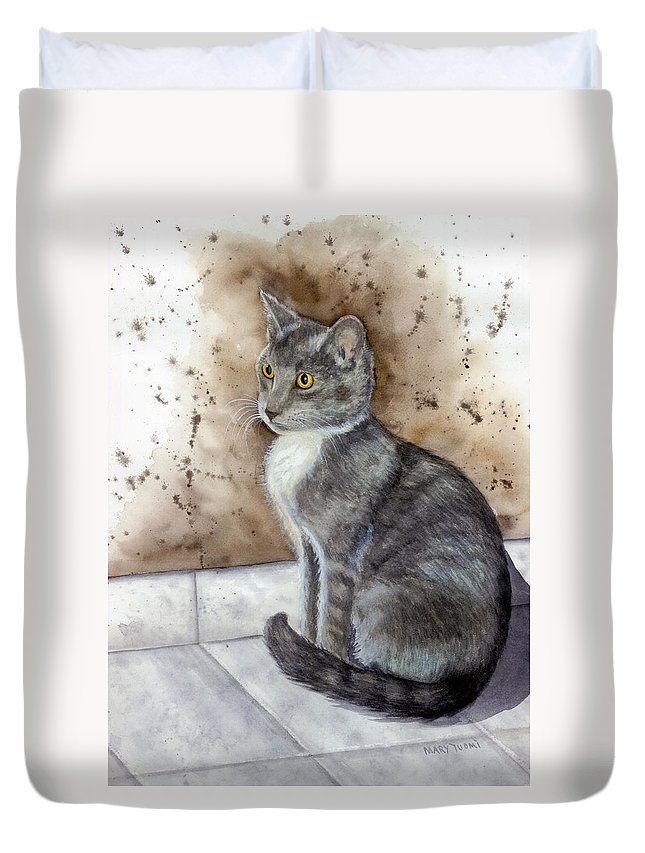 Cat Duvet Cover featuring the painting Kitty by Mary Tuomi