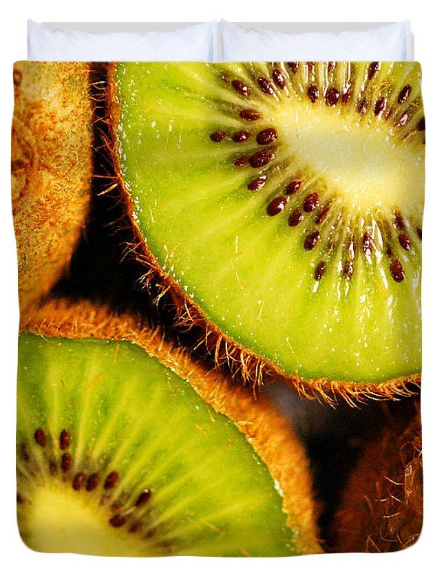 Kiwi Duvet Cover featuring the photograph Kiwi Fruit by Nancy Mueller