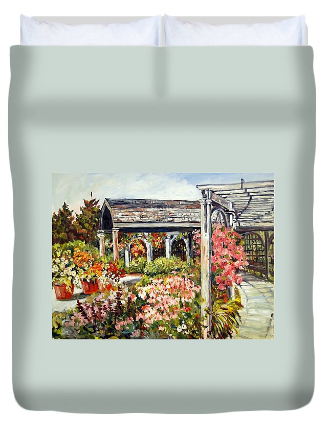 Landscape Duvet Cover featuring the painting Klehm Arboretum I by Alexandra Maria Ethlyn Cheshire