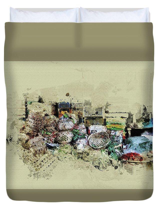 Home Art Duvet Cover featuring the digital art Klong Toey Market In Bangkok, Thailand by Don Kuing