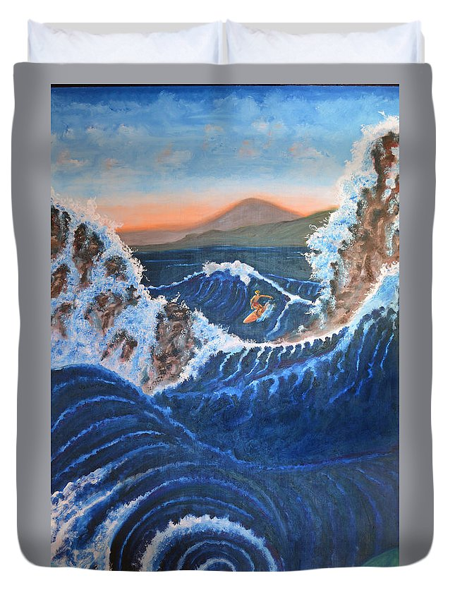 Surfing Duvet Cover featuring the painting Knee Deep by Cliff Welty