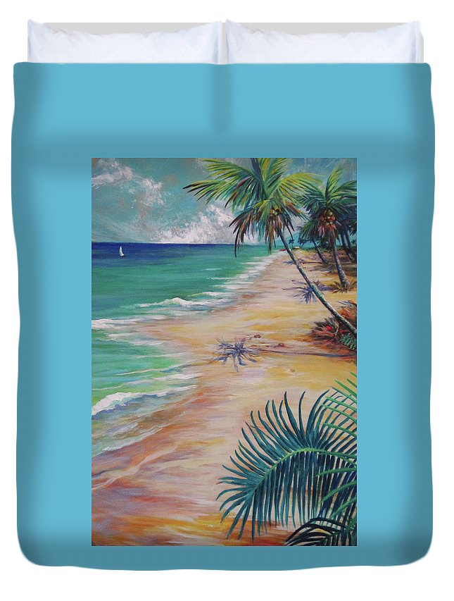 Beach Duvet Cover featuring the painting Knight Beach by Anne Marie Brown