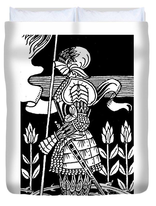 Aubrey Beardsley Duvet Cover featuring the drawing Knight Of Arthur, Preparing To Go Into Battle by Aubrey Beardsley