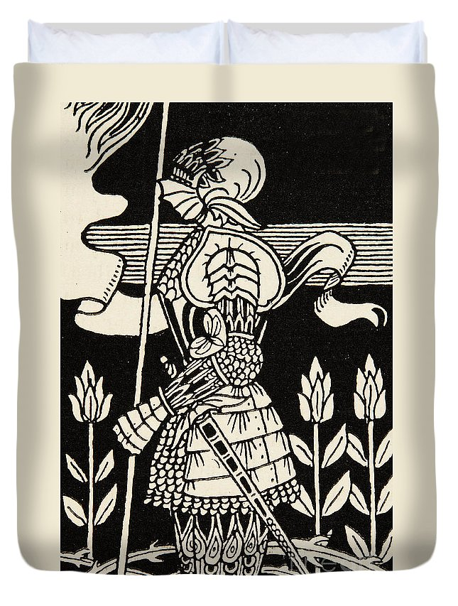 Aubrey Beardsley Duvet Cover featuring the drawing Knight Of Arthur, Preparing To Go Into Battle, Illustration From Le Morte D'arthur By Thomas Malory by Aubrey Beardsley