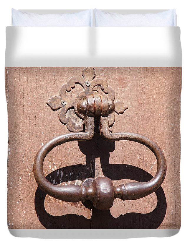 Knocker Duvet Cover featuring the photograph Knock And It Shall Be Opened.. by Ron Koivisto