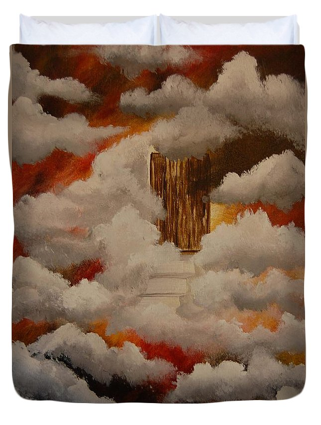 Acrylic Artwork Duvet Cover featuring the painting Knock And The Door Will Open by Laurie Kidd