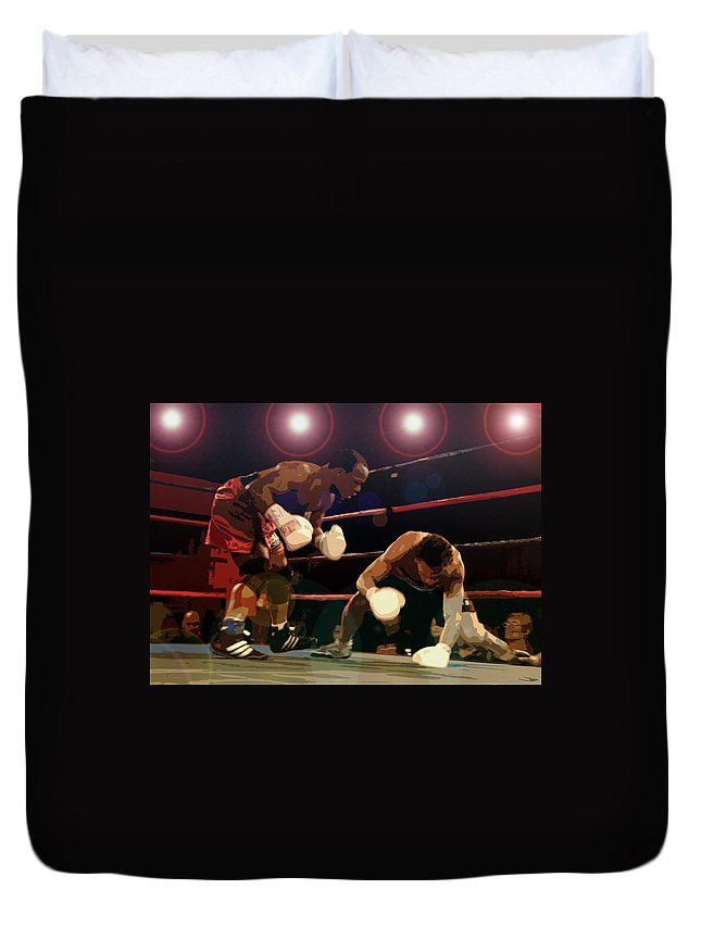 Artwork Duvet Cover featuring the painting Knockdown by David Lee Thompson