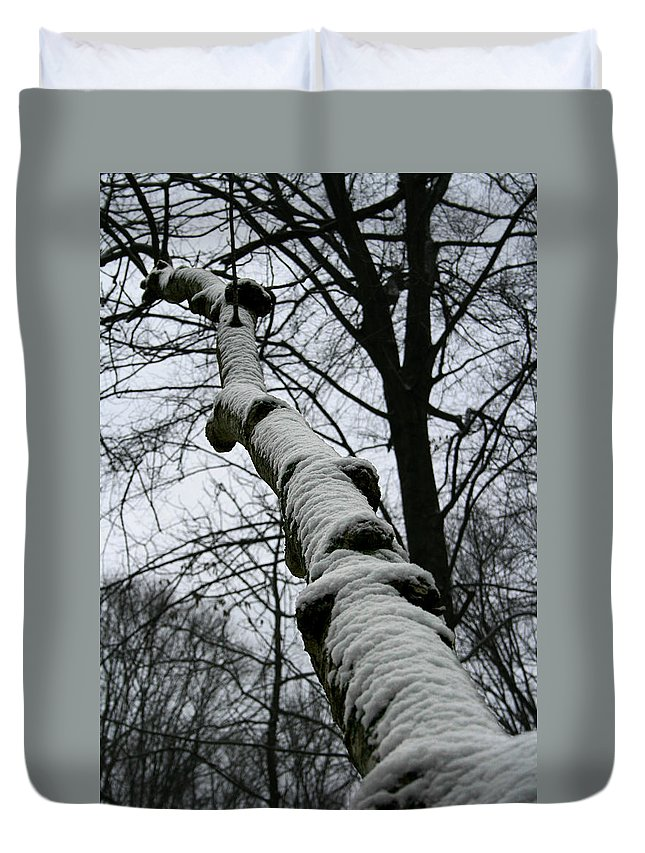 Nature Winter Snow White Cold Quite Peaceful Forest Woods Tree Cover Grey Knot Outdoor Duvet Cover featuring the photograph Knoted by Andrei Shliakhau
