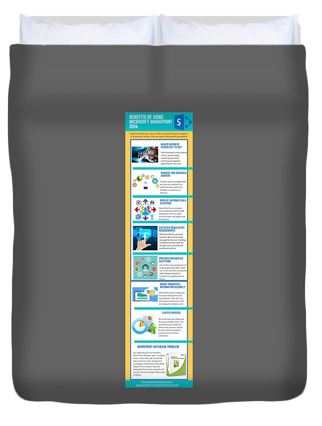 Sharepoint 2016 Duvet Cover featuring the digital art Know About The Benefits Of Using Microsoft Sharepoint 201 by Edwards Paul