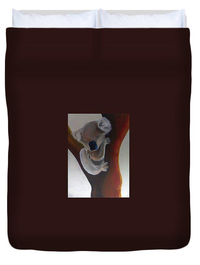 Koala Duvet Cover featuring the painting Koala by Catt Kyriacou