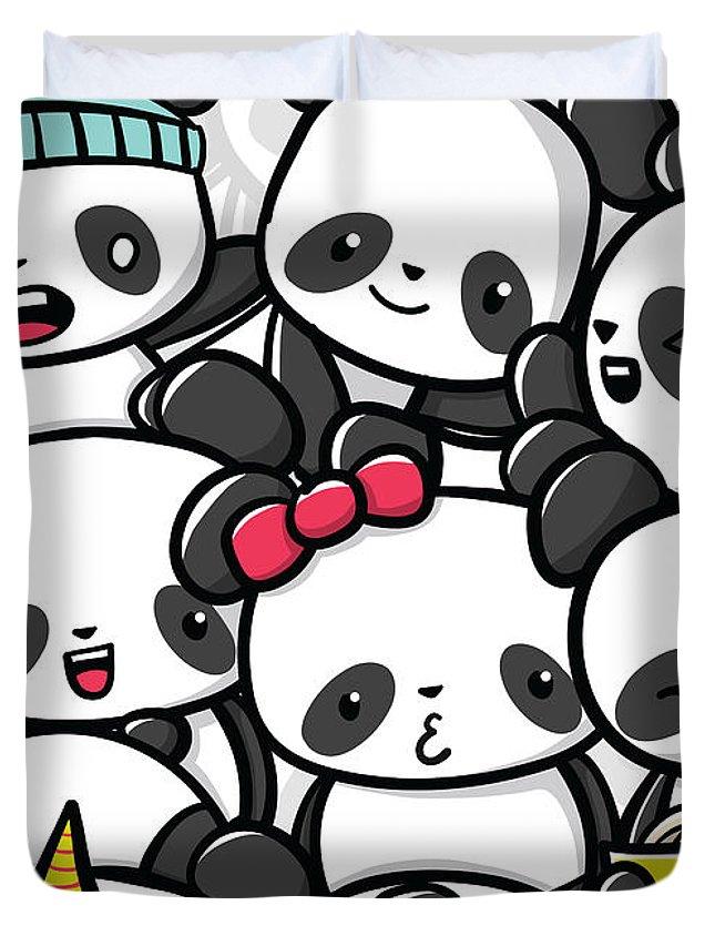 Panda Duvet Cover featuring the digital art Koala Doodle by Gladys P Nut