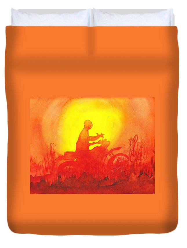 Koala Lumpur Sunset Duvet Cover featuring the painting Koala Lumpur Sunset by Donna Walsh