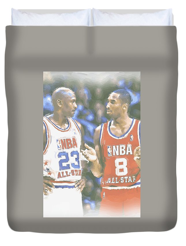 Kobe Bryant Duvet Cover featuring the photograph Kobe Bryant Michael Jordan by Joe Hamilton