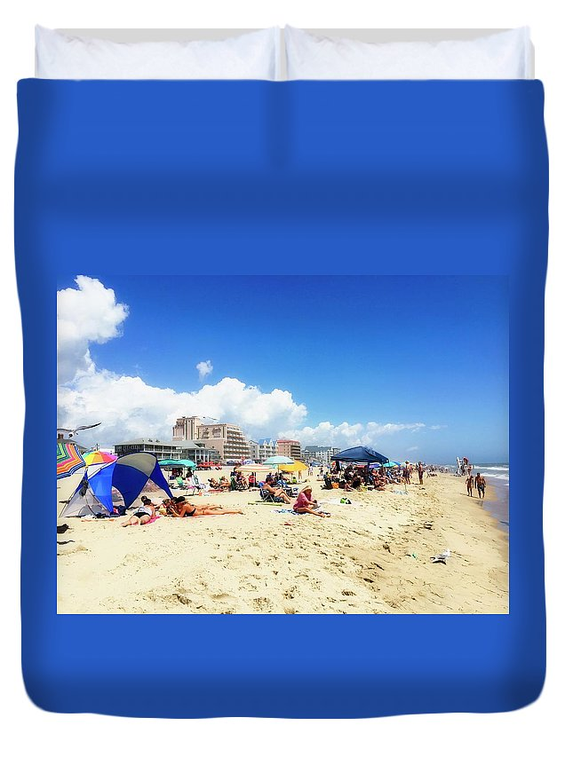 Ocean City Duvet Cover featuring the photograph Blue Sky Day In Ocean City by Doug Swanson