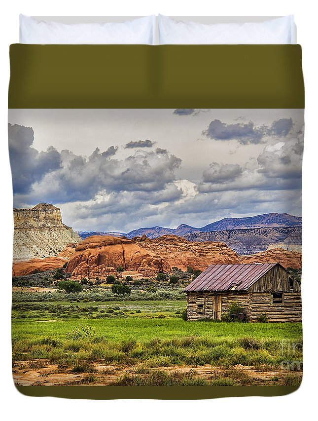 House Duvet Cover featuring the photograph Kodachrome Cabin by Roberta Bragan