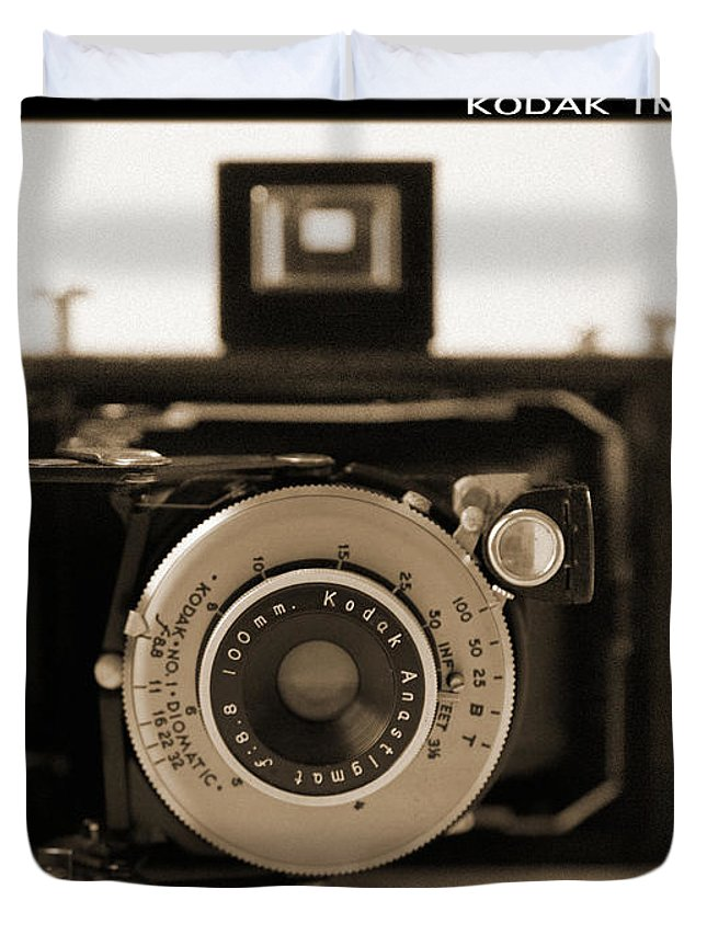 Vintage Kodak Camera Duvet Cover featuring the photograph Kodak Diomatic by Mike McGlothlen