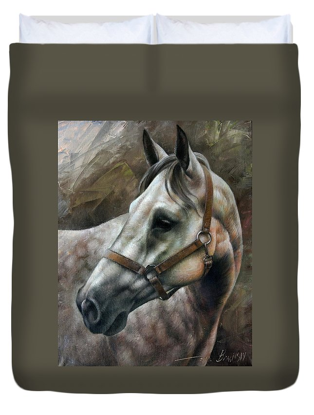 Horse Duvet Cover featuring the painting Kogarashi by Arthur Braginsky