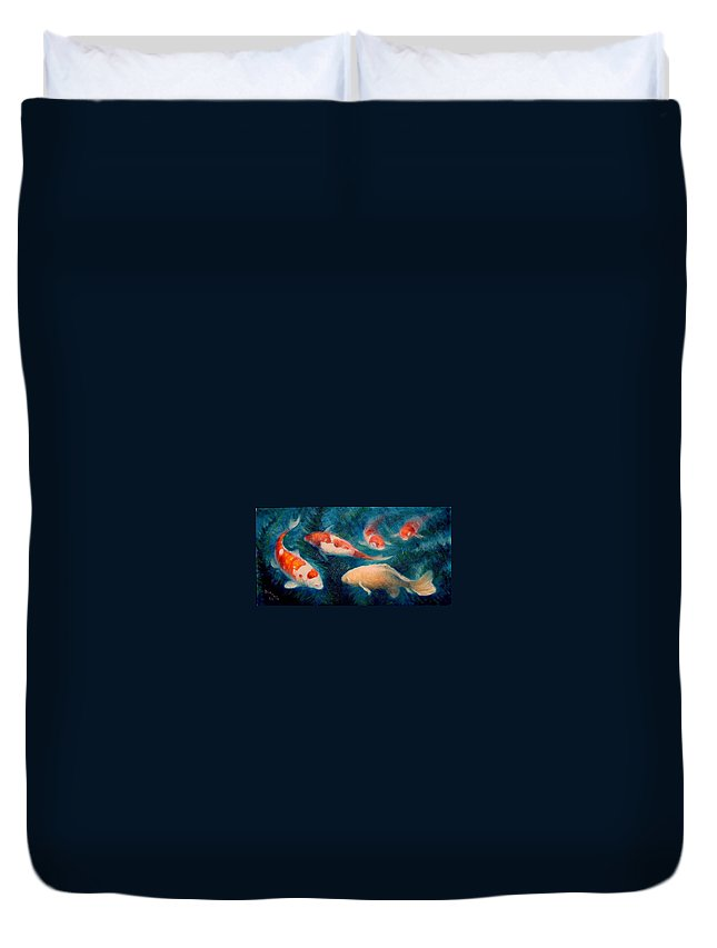 Realism Duvet Cover featuring the painting Koi Ballet 2 by Donelli DiMaria