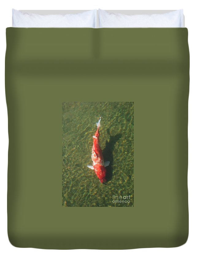 Koi Duvet Cover featuring the photograph Koi by Dean Triolo