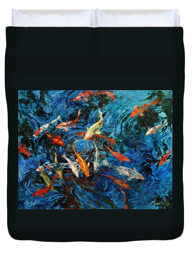 Koi Duvet Cover featuring the painting Koi IIi by Rick Nederlof