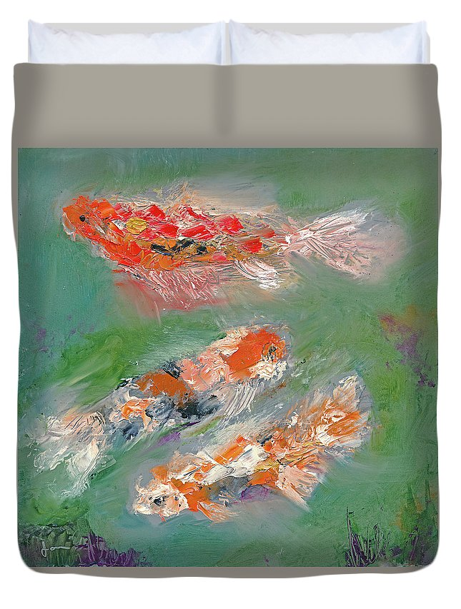 Koi Duvet Cover featuring the painting Koi by Janet Gunderson