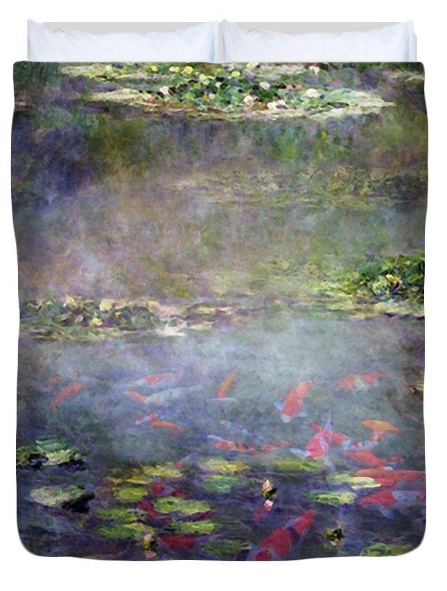 Koi Duvet Cover featuring the digital art Koi N Pond by Marcus Lewis